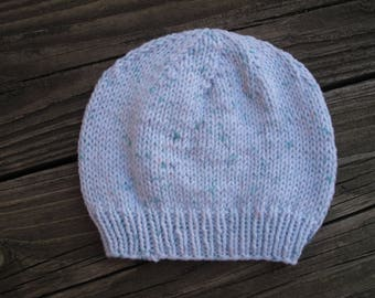 Baby Hat / Beanie Hand-Knitted in Self-Striping Soft Acrylic (newborn to three months size)