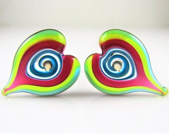 Heart Swirl Lampwork Glass Bead Pairs