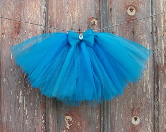 Size 2T-6 Sparkly Blue Tutu with Matching Hair Bow