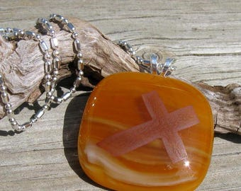 Fused Glass and Sepia Cross Sterling Necklace