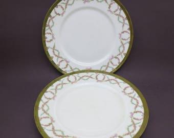 Antique Porcelain Dinner Plates 2 HUB Austria Art Nouveau Green Gold Pink Flower Floral Garland Pair