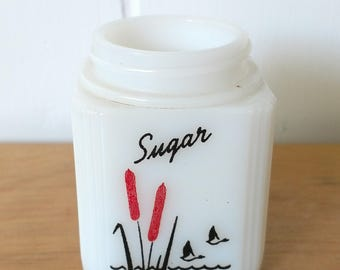 vintage Tipp milk glass cattail sugar