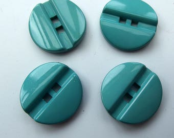 Vintage Buttons - Medium Plastic Minty Aqua Green Buttons- set of 4
