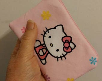 HELLO KITTY Pink Zippered Coin Pouch Case Anime Cosplay