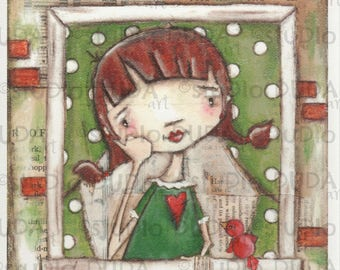 Print of my Original Inspirational Motivational Whimsical Mixed Media Painting - Her Window