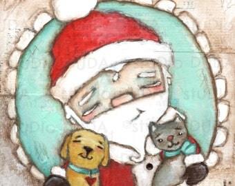 Print of my Original Inspirational Motivational Whimsical Mixed Media Santa Painting -Cat and Dog Santa