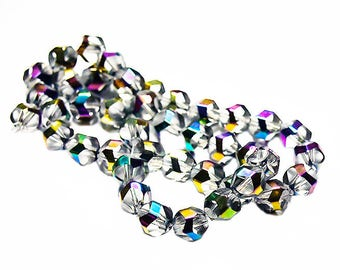 Rainbow Crystals- crystal beads- faceted beads- glass beads- AB crystal beads- metallic beads- designer beads- jewelry supplies- beading
