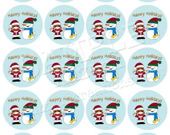 Printable Sock Monkey and Snowman Stickers - A4 Sticker Download