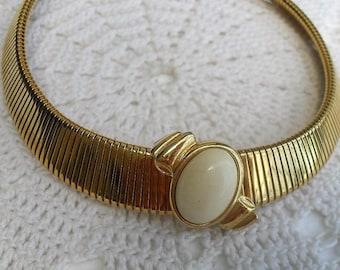 Vintage MONET Gold Tone Omega Necklace White Cabochon Slider Choker Necklace