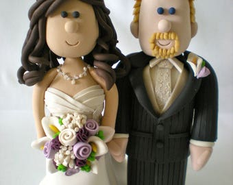 Customized Wedding Cake Toppers - Traditional Bride and Groom Cake Topper Figurines