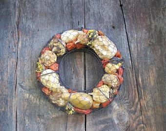 CHICKEN WIRE Cage  WREATH  dried flower & Gourd autumn decoration or centerpiece