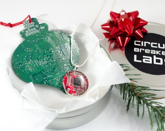 Circuit Board Necklace and Ornament Holiday Gift Set, Motherboard Jewelry, Wearable Technology, Geeky Christmas Ornament, Nerd Engineer Gift