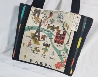 Paris France City Map on Canvas Vacation Travel purse tote bag