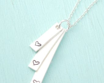 ON SALE Cascading Bars, HEART Rectangular Pendants- love heart handmade sterling silver handcrafted by Chocolate and Steel