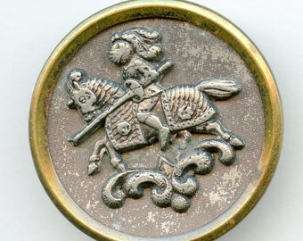 """Large Victorian Antique Picture Button Knight on Horse 1 1/2"""" 3551"""