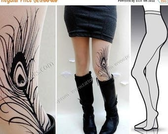 ON SALE/// Large/Extra Large gorgeous mini and boots peacock feather tattoo  tights / stockings full length pantyhose ULTRA Pale
