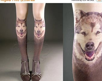 SALE///Happy2018/// Tattoo Tights -  nude color one size Doggy full length printed tights closed toe pantyhose tattoosocks tattootights