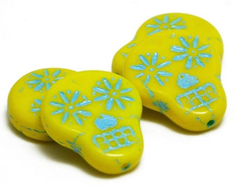 Sugar Skull Beads - 20x17 - Czech Skull Beads - Czech Glass Beads - Yellow Skull Beads - Czech Beads - Picasso Beads - 4pcs (2228)