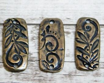 2pcs - TierraCast - Jardin - Connector Beads - Links - Bronze Charms - Broze Pendants - Dulce Vida - 23x10mm - (3740)