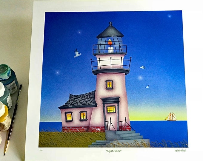LIGHT HOUSE Limited Edition Unframed Print | Nautical Wall Art | Seaside Print | Beach Cottage Art | Valerie Walsh Art | 12x12 Art Print