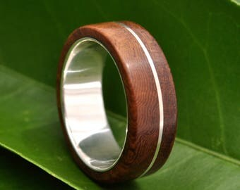 Size 7.25, 5mm Asi Nacascolo Wood Ring -  recycled sterling silver and wood wedding band