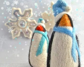 KIT SALE Needle Felting Tutorial DIY Winter Penguin Needle Felted Penguin wool ornament toy Winter, Instructions How To Needle Felt, Instant