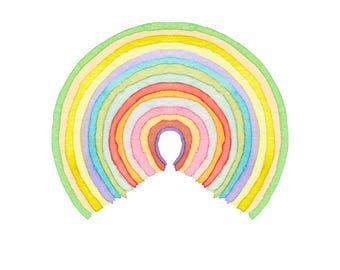 Circle Rainbow - watercolor, art print, wall decor, nursery, rainbow baby, baby art