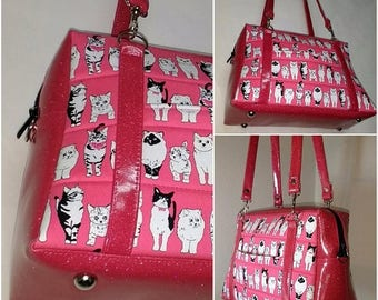 20% off Cat Handbag, Hot Pink, Cats, and Glitter Vinyl Purrfect Handbag, Crazy cat lady, Cat lover