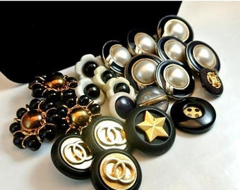 Eclipse Sale Mixed Lot of 22 Vintage Buttons Black White Gold Shank Buttons Varied Size Buttons Metal and Plastic Buttons