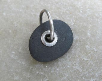 Small Riveted Beach Stone Charm Silver Riveted Beach Stone Pendant Sterling Silver Rivet Black Beach Stone Jewelry Pebble Charm