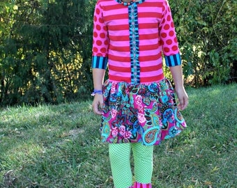 SALE STORE CLOSING Girl's Dress Outfit - Drop Waist Corduroy Dress and Green Dot Leggings Ready to Ship