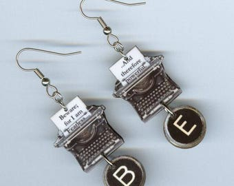 Typewriter quote key earrings - Mary Shelley Beware for I am Fearless Frankenstein - Literary Graduation Teacher's gift