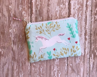 Unicorn Coin Purse Small Zipper Pouch Unicorn Lover Gift For Her Unicorn Gift Change Purse Money Holder Organizer Bag Gift Under 10