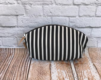 Petal Pouch Curved Pouch  Gift for her Zipper Pouch Organizer bag project bag cosmetic bag toiletry bag black stripes