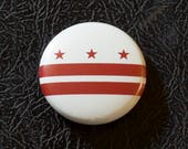 "1"" Washington DC flag button - District of Columbia, city, pin, badge, pinback"