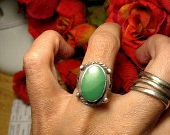 SALE TODAY Old Pawn Marked Sterling Silver Harvey Era Green Turquoise Tribal Southwestern Ring Jewelry Size 6