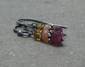 Ruby Earrings Peach Moonstone, Citrine Oxidized Sterling Silver Gift for Girlfriend Gemstone Stack