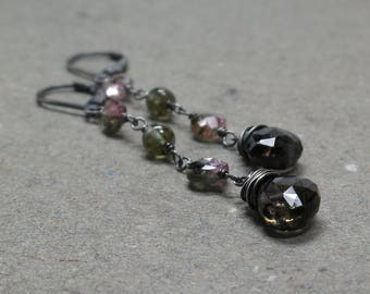 Watermelon Tourmaline Earrings Pink Green Long Oxidized Sterling Silver Lever Back Gift for Her