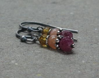 Ruby Earrings Peach Moonstone, Citrine Oxidized Sterling Silver Earrings Gift for Girlfriend Gift for Wife
