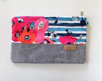 Zipper Pouch, Waxed canvas, Kindle, ipad device padded sleeve, canvas bag, Diaper wipes clutch, makeup organizer, Navy Blue Coral Pink