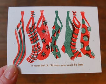 Holiday stockings linocut letterpress card