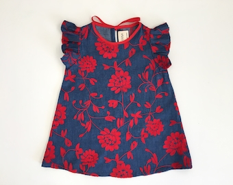 Embroidered red & chambray dress Supayana baby toddler
