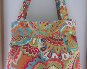 Bohemian Print on Canvas, Handbag, Purse, Ipad, Netbook, Tote, Shoulder bag ,Pleated bag, Made in USA BOHO