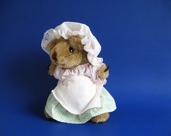 Vintage Mrs. Tiggy Winkle Hedgehog Stuffed Animal Toy by Eden Beatrix Potter Peter Rabbit 1990s Toys Pink Gingham White Apron Tiggy Winkle