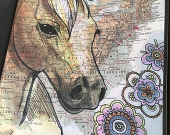 Quarter Horse Poster, 11x17 inches, Horses of the World, Repurposed Map, Eastern U.S.A.