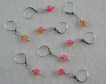 Pink  Lemonade Crackle Glass  Removable Stitch Markers - Item No. 1017