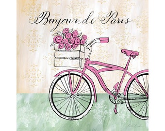 Pink French Bike with Flowers