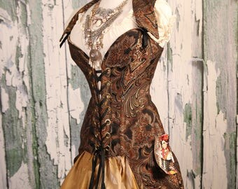 Waist 39-41 Black and Copper Paisley Peacock Tailed Courtier Corset WAS 399