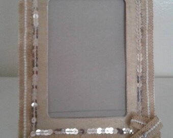 Natural Pearl Beaded Trim with Sequins Wooden Gold Color Picture Frame