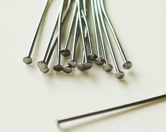 Summer Sale 2 Inch Black Gunmetal Head Pins - Nickel Free  -  24 Gauge - 100 Pieces - 1089